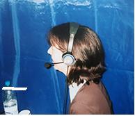 Dolmetschertechnik im Zelt Sprechblase